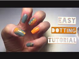 easy dotting tool nail design orange u0026 grey nails beginners