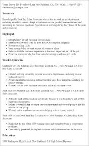 Warehouse Job Duties For Resume by Professional Best Buy Sales Associate Templates To Showcase Your