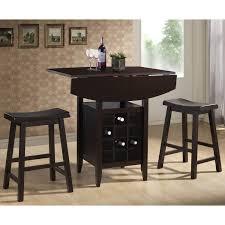 Dining Room Table With Wine Rack Amazon Com Baxton Studio 3 Piece Reynolds Black Wood Modern Drop