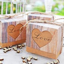 rustic love hearts vintage shabby chic wedding favour boxes