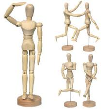 12 wooden figure manikin human artist draw painting model