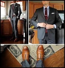 light gray suit brown shoes gray suit tan shoes and a burgundy tie for the dapper burgundy