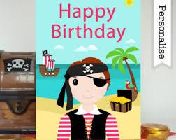 pirate birthday card etsy