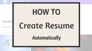 Create Resumes Online by How To Create Your Resume Online Automatically Youtube