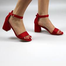 red ankle strap block heels open toe sandals forever fever