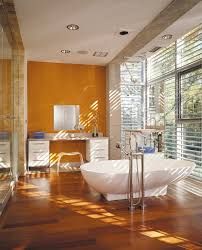 Orange Accent Wall by 25 Bathrooms That Beat The Winter Blues With A Splash Of Color