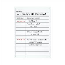 index card template birthday party invitation library card