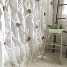 Ruffled Shower Curtains Burlap Ruffle Shower Curtain White Cotton With Handmade