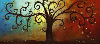 curly branches tree painting by elaine hodges