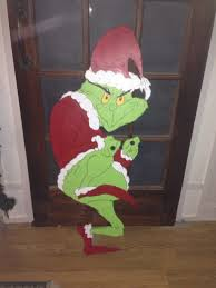 christmas grinch stealing christmas lights yard art decoration