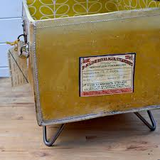 Upcycled Side Table Upcycled Vintage Suitcase Side Table Pillar Box Blue