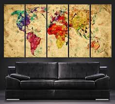 World Map Canvas Colorful And Vintage World Map Canvas Print Art Watercolor World