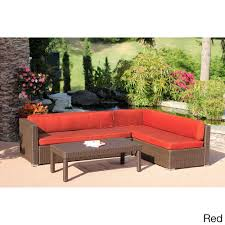 3 piece wicker conversation sectional set by jeco foam cushions