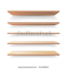 set wood shelves vector isolated on stock vector 561506275