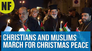 palestinian christians and muslims march for peace