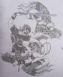 thai warrior and hanuman tattoo sketch inked dreamz pinterest