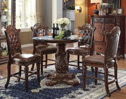 acme vendome 5pc round counter height dining room set with beveled