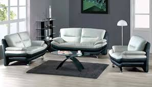 Gray And Turquoise Living Room Two Toned Grey U0026 Black Leather 7068 Contemporary Living Room