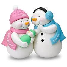 new parents and baby snowmen ornament keepsake ornaments hallmark