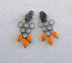1970s earrings vintage israel orange dangle 1970s earrings by vintix women s