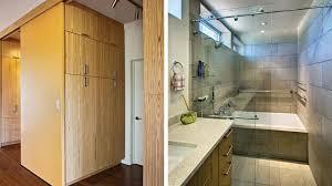 Trendy Grey Painted Bathroom Vanity Using Distressed Furniture - Bathroom closet designs