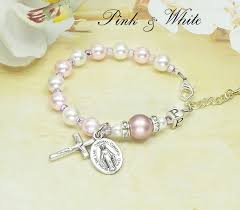 baby rosary baby girl baptism personalized rosary bracelet with palest pink