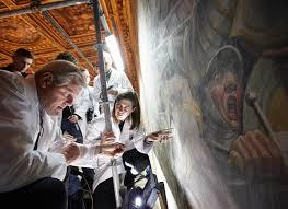 lost leonardo da vinci mural behind false wall