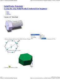 create 1 2 u2033 hex bolt solidworks tutorials computing