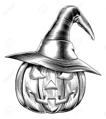 an illustration of a halloween pumpkin wearing a witch hat in