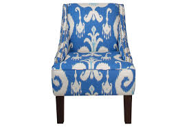 furniture light blue fabric accent chair with white motif and