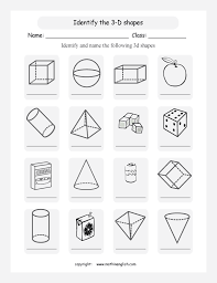 know your 3d shapes and name them this worksheet has cones