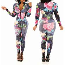 bodycon jumpsuit plunging neck sleeve floral print bodycon jumpsuit for