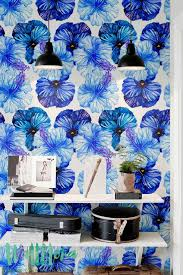 self adhesive wallpaper blue blue petunia wallpaper temporary wallpaper floral wallpapers