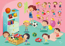 Bedroom Cartoon Illustration Of Childen In A Bedroom Royalty Free Cliparts
