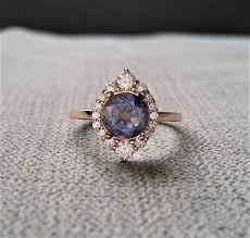 purple diamond engagement rings purple iolite diamond engagement ring halo bohemian deco