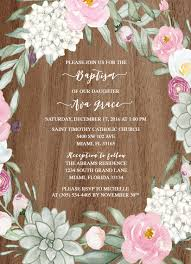 Example Of Baptismal Invitation Card Rustic Baptism Invitation Succulent Christening Invitation