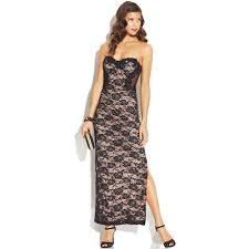 jump juniors strapless sequin lace dress in natural lyst