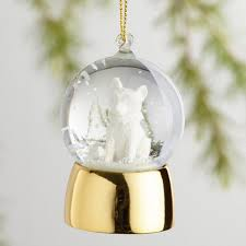 glass woodland creature snow globe ornaments set of 4 world market