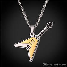 guitar necklace pendants images Wholesale u7 electric guitar pendants necklaces two tone enamel jpg