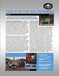 table in the wilderness check out our fall newsletter enjoy table in the wilderness