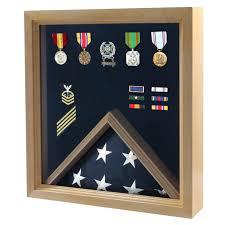 Flag Displays Flag And Medal Display Case Military Shadow Box Oak