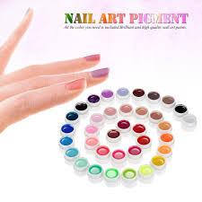 anself 36 colors nail art pigment set uv gel polish solid glue