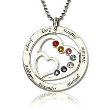 kids name necklaces gift heart in heart birthstone necklace with kids name