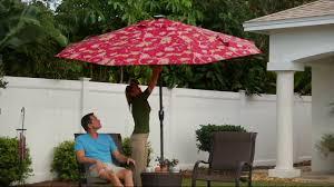 Patio Umbrella Solar Lights by Atleisure 10 U0027 Floral Vine Print Market Umbrella W Solar Lights On