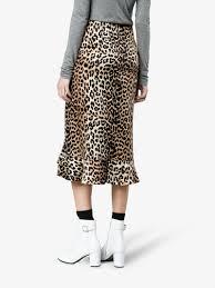 silk skirt ganni leopard print silk skirt high waisted skirts browns