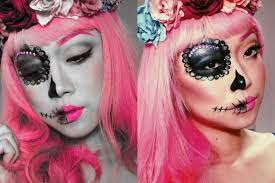 two faced sugar skull makeup by abs youtube