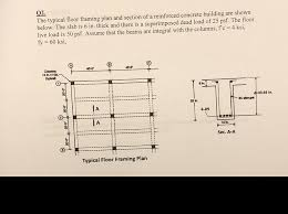 plan concrete solved 02 the typical floor framing plan and section of a
