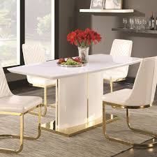 coaster cornelia contemporary boat shape dining table with 24k