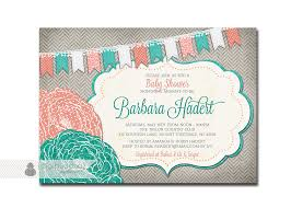 baby shower invitation coral turquoise teal aqua gray rose flower