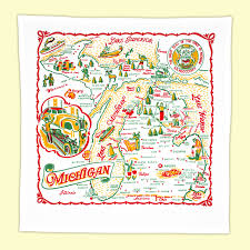 Mi Map Michigan Map Towel Red And White Kitchen Company